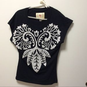 French Connection Denim Embellished Top Sz XS (?)